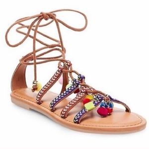 Pom Pom Lace-Up Sandals